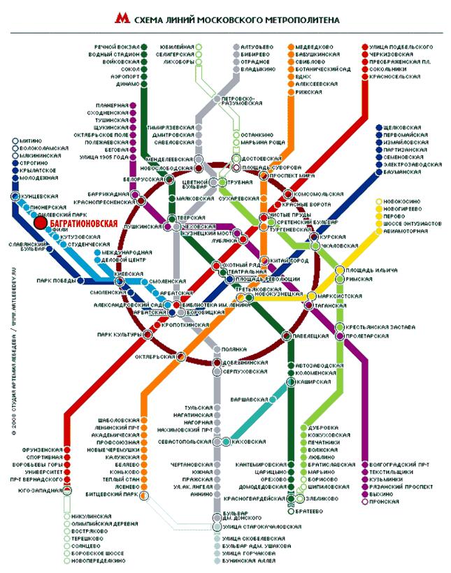 Фили на схеме метро 2017